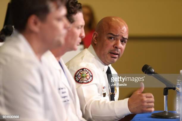 Lt Laz Ojeda Coral Springs Fire Department sits with Igor Nichiporenko MD Medical Director of Trauma Services Broward Health North and Evan Boyar MD...