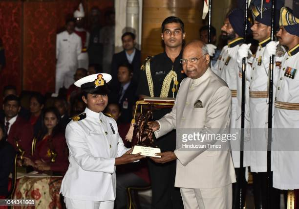 Lt Payal Gupta receives the Tenzing Norgay National Adventure Award 2017 for her achievements in Navy from President Ram Nath Kovind during the...