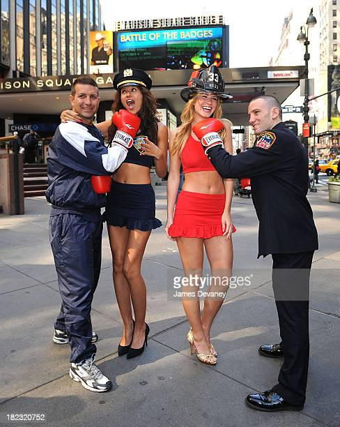 Lt Ray Braine Tarale Wulff Annmarie Nitti and FDNY fireman Mike Reno promote Battle of the Badges boxing tournament between NYPD and FDNY at Madison...