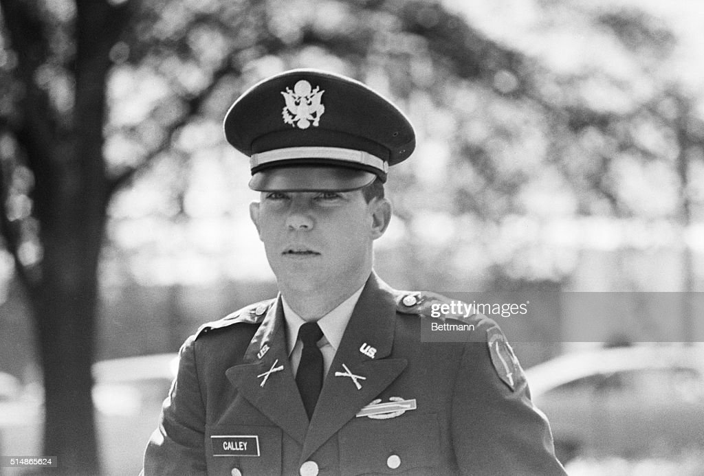Lt. William Calley arrives at a pre-trial hearing prior to his court martial for his involvement in the My Lai massacre.