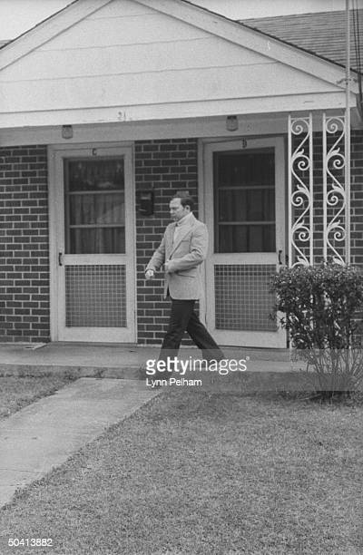 Lt William Calley Jr leaving his apartment for the first time in 35 months without guards to take a drive in his girlfriend's car