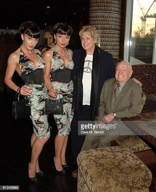 Lto R Gabriella Irimia and Monica Irimia of the Cheeky Girls with Jan Rooney and Mickey Rooney attend David Gest's dinner for Caudwell Childrens...