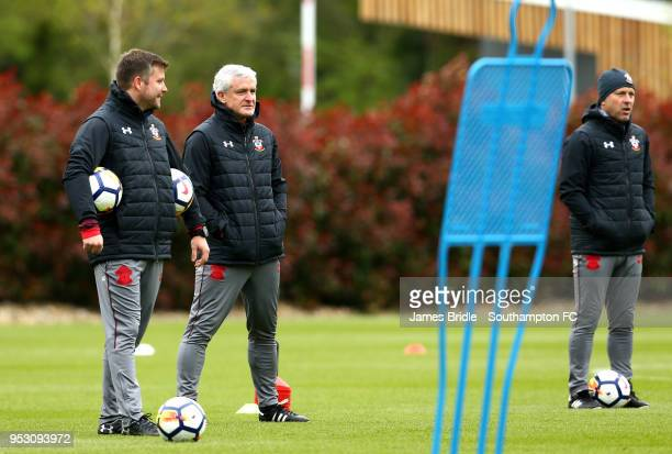 LtoR Alex Gross Mark Hughes and Mark Bowen during a Southampton FC Training session at Staplewood Complex on April 30 2018 in Southampton England