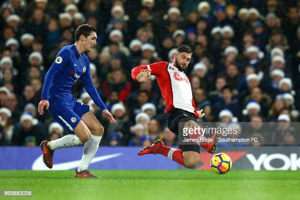 LtoR Andreas Christensen of Chelsea FC goes after Charlie Austin of Southampton during the Premier League match between Chelsea and Southampton FC at...