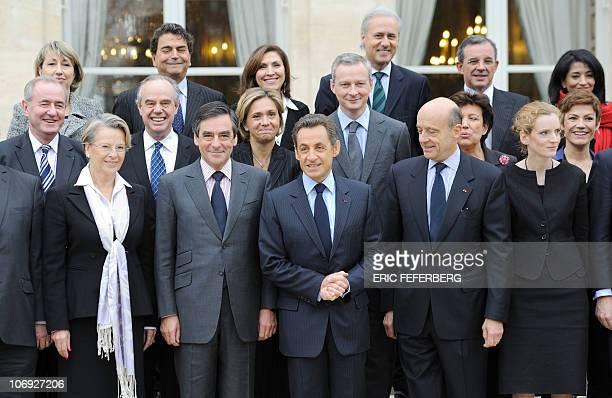 LtoR France's Justice Minister Michel Mercier, Foreign Affairs Minister Michele Alliot-Marie, Prime Minister Francois Fillon, President Nicolas...