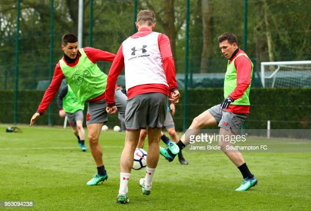 LtoR Guido Carrillo Jack Stephens and PierreEmile Hojbjerg during a Southampton FC Training session at Staplewood Complex on April 30 2018 in...
