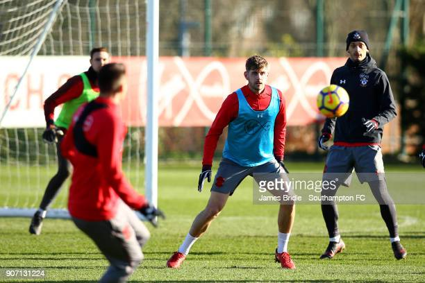 LtoR Jack Stephens Manolo Gabbiadini during a Southampton FC training session at Staplewood Complex on January 19 2018 in Southampton England