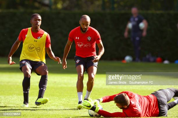 LtoR Kayne Ramsay Nathan Redmond and Angus Gunn during a Southampton FC training session at Staplewood Complex on September 25 2018 in Southampton...