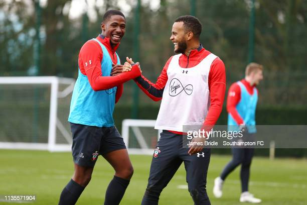 LtoR Kayne Ramsay Ryan Bertrand during a Southampton FC training session at Staplewood Complex on March 13 2019 in Southampton England