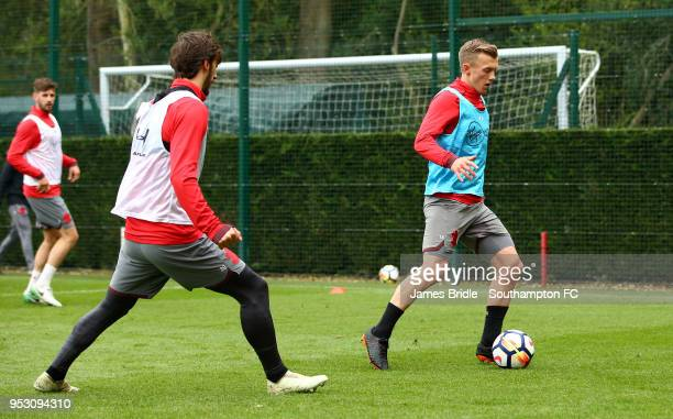 LtoR Manolo Gabbiadini James WardProwse during a Southampton FC Training session at Staplewood Complex on April 30 2018 in Southampton England