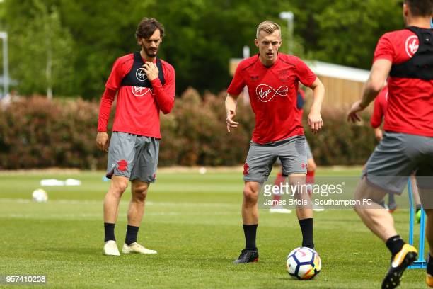 LtoR Manolo Gabbiadini James WardProwse during a Southampton FC training session at Staplewood Complex on May 11 2018 in Southampton England