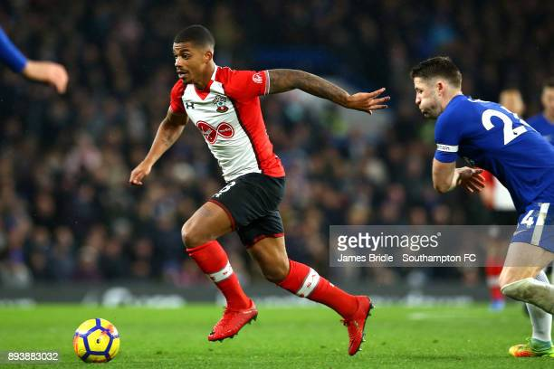 LtoR Mario Lemina of Southampton takes on Cesar Azpilicueta during the Premier League match between Chelsea and Southampton FC at Stamford Bridge on...