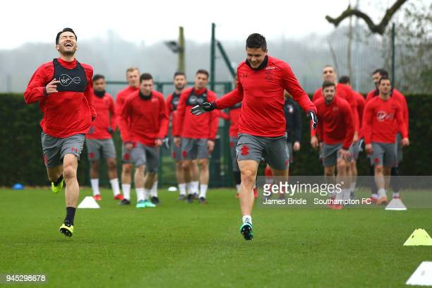 LtoR Maya Yoshida Guido Carrillo during a Southampton FC training session at Staplewood Complex on April 12 2018 in Southampton England