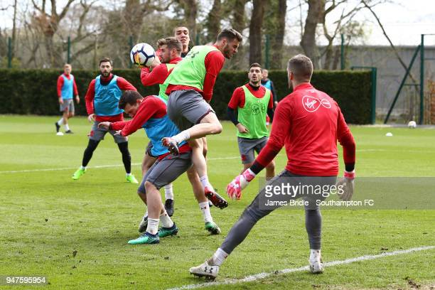 LtoR PierreEmile H¿jbjerg Jack Stephens Oriol Romeu Wesley Hoedt Jeremy Pied during a Southampton FC training session at Staplewood Complex on April...