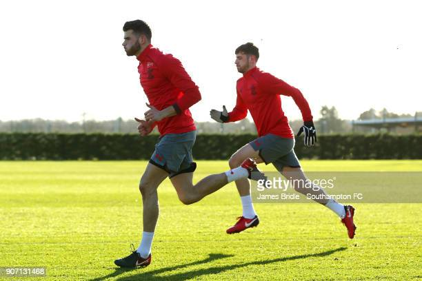 LtoR Wesley Hoedt Jack Stephens during a Southampton FC training session at Staplewood Complex on January 19 2018 in Southampton England