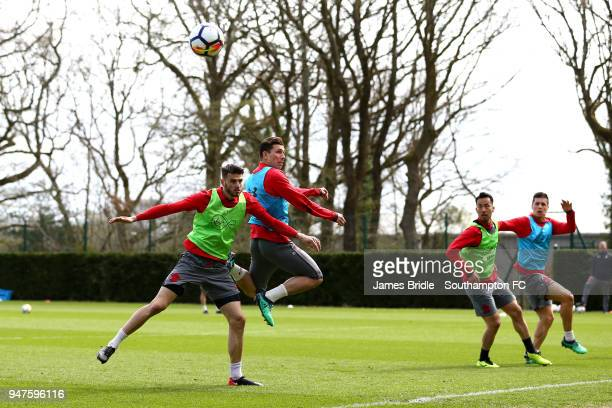 LtoR Wesley Hoedt PierreEmile H¿jbjerg Maya Yoshida Guido Carrillo during a Southampton FC training session at Staplewood Complex on April 17 2018 in...
