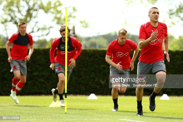 LtoR WIll Smallbone Manolo Gabbiadini James WardProwse Oriol Romeu during a Southampton FC training session at Staplewood Complex on May 11 2018 in...