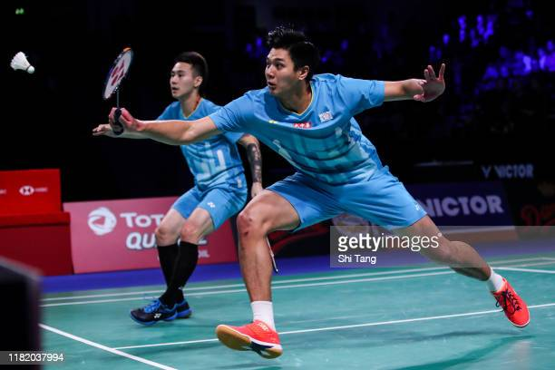 Lu Ching Yao and Yang Po Han of Chinese Taipei compete in the Men's Doubles semi finals match against Marcus Fernaldi Gideon and Kevin Sanjaya...