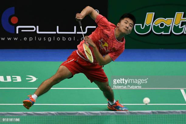 Lu Guangzu of China competes against Jia Wei Joel Koh of Singapore during the EPlus Badminton Asia Team Championships 2018 at Sultan Abdul Halim...
