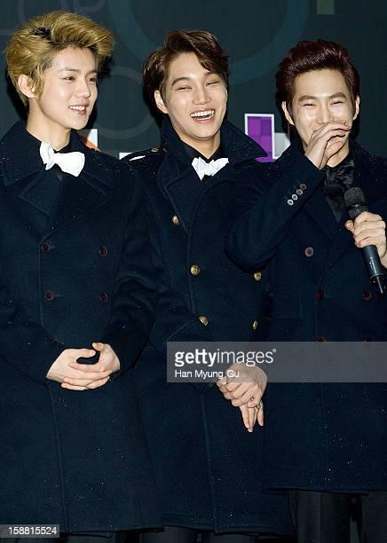 Lu Han of boy band EXOM Kai and Su Ho of boy band EXOK arrive at the 2012 SBS Korea Pop Music Festival named 'The Color Of KPop' at Korea University...