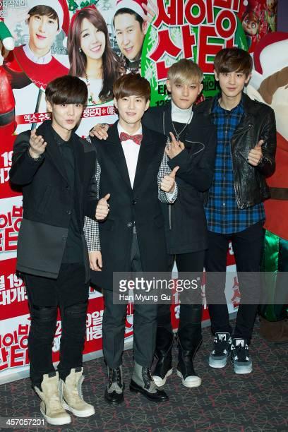 Lu Han Su Ho Tao and Chan Yeol of boy band EXO attend 'Saving Santa' VIP screening at CGV on December 11 2013 in Seoul South Korea The film will open...