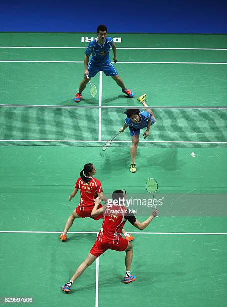 Lu Kai and Huang Yaqiong of China in action against Zheng Siwei and Chen Qingchen of China during day one of the BWF Dubai World Superseries Finals...