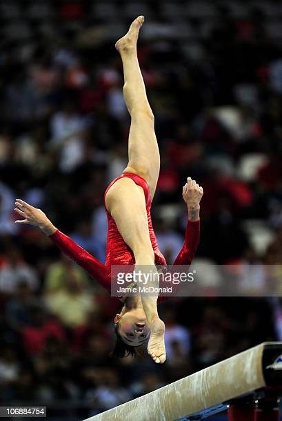 Lu Sui of China competes in The Beam in the Women's All Round Individual Artistic Gymnastics at Asian Games Town Gymnasium during day three of the...