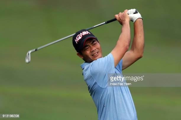 Lu Weichih of China in action during day two of the 2018 Maybank Championship Malaysia at Saujana Golf and Country Club on February 2 2018 in Kuala...
