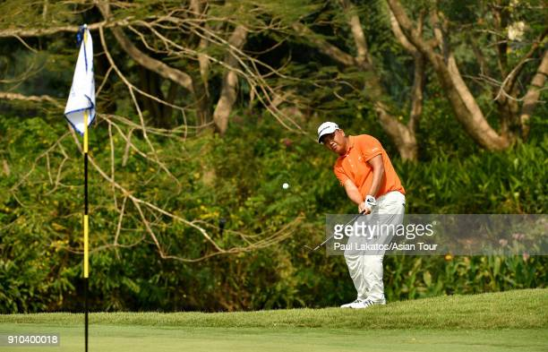 Lu Weichih of Chinese Taipei plays a shot during round two of the Leopalace21 Myanmar Open at Pun Hlaing Golf Club on January 26 2018 in Yangon...