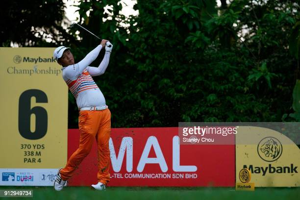 Lu Weichih of Chinese Tapei in action during day one of the 2018 Maybank Championship at Saujana Golf and Country Club on February 1 2018 in Kuala...