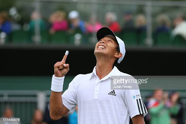 Lu Yen-Hsun of Taipei celebrates match point during the Gentlemen's Singles first round match against James Ward of Great Britain on day one of the...