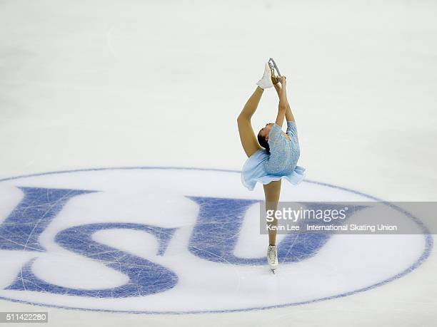 Lu Zheng of China performs during the Ladies Free Skating on day three of the ISU Four Continents Figure Skating Championships 2016 at Taipei Arena...