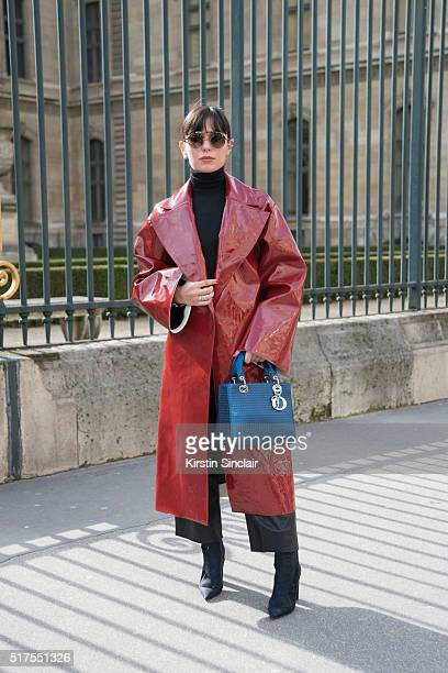 Lu2019Officiel Contributor Marta Pozzan wears Breelayne Jacket Dior bag and shoes and Oxydo sunglasses on day 4 during Paris Fashion Week...