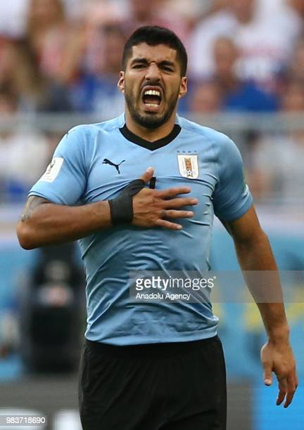 Luais Suarez of Uruguay in action during the 2018 FIFA World Cup Russia Group A match between Uruguay and Russia at the Samara Arena in Samara Russia...