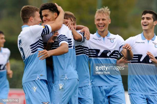 Luan Capanni of SS Lazio celebrates a opening goal during the Serie A Primavera match between SS Lazio U19 and Crotone U19 at on November 3 2018 in...