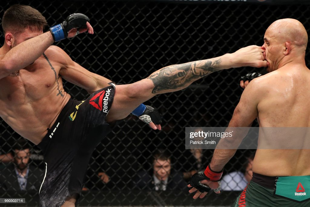 Luan Chagas of Brazil kicks Siyar Bahadurzada of Afghanistan in their welterweight fight during the UFC Fight Night event at the Boardwalk Hall on April 21, 2018 in Atlantic City, New Jersey.