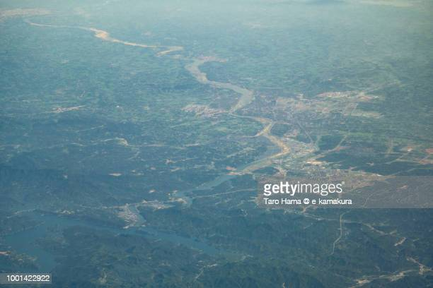 Lu'an city in Anhui province in China daytime aerial view from airplane