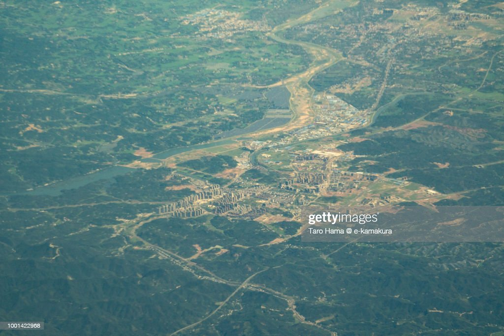 Lu'an city in Anhui province in China daytime aerial view from airplane : Stock-Foto