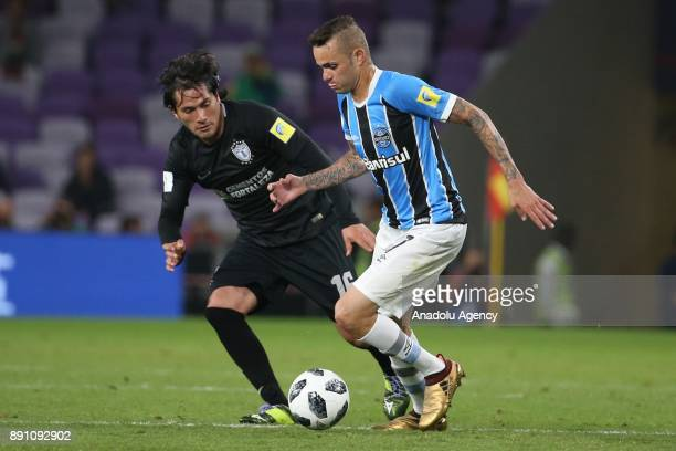 Luan De Jesus Vieira of Gremio in action against Jorge Hernandez of Pachuca during the 2017 FIFA Club World Cup semifinal soccer match between Gremio...