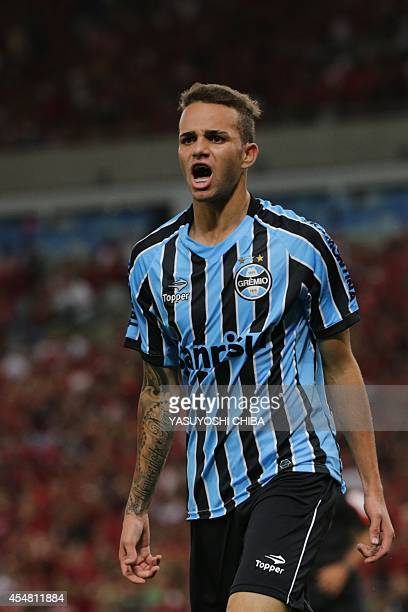 Luan of Gremio celebrates after his goal against Flamengo during their Brazilian championship match at Maracana stadium in Rio de Janeiro Brazil on...