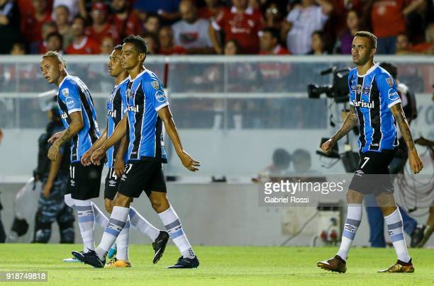 Luan of Gremio celebrates after scoring the opening goal during the first leg match between Independiente and Gremio as part of CONMBEOL Recopa...