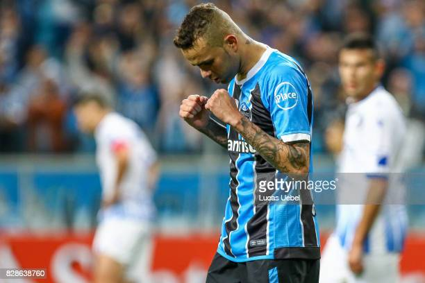 Luan of Gremio celebrates during the second leg match Gremio v Godoy Cruz as part of round of 16 of Copa CONMEBOL Libertadores Bridgestone 2017 at...