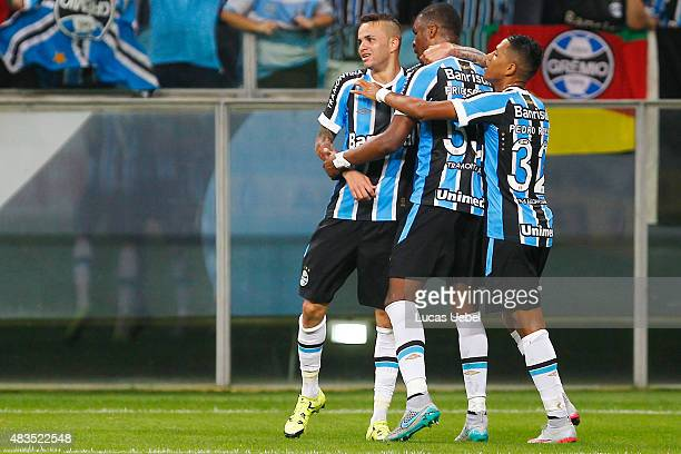 Luan of Gremio celebrates their second goal during the match Gremio v Internacional as part of Brasileirao Series A 2015 at Arena do Gremio on August...