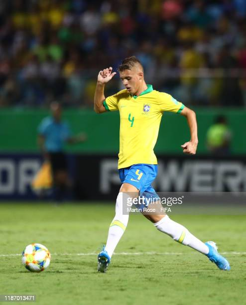 Luan Patrick of Brazil makes a pass during the FIFA U-17 World Cup Quarter Final match between Italy and Brazil at the Estádio Olímpico Goiania on...