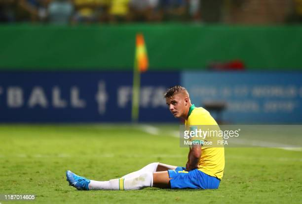 Luan Patrick of Brazil reacts during the FIFA U-17 World Cup Quarter Final match between Italy and Brazil at the Estádio Olímpico Goiania on November...