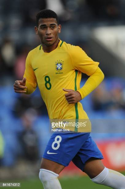 Luan Pereira of Brazil looks on during the international friendly match between England U18 and Brazil U18 on September 1 2017 in Shrewsbury England