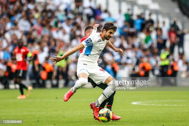 Luan PERES of Marseille during the Ligue 1 Uber Eats match between Marseille and Rennes at Orange Velodrome on September 19, 2021 in Marseille,...
