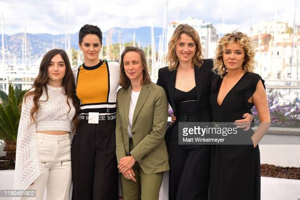 Luana Bajrami Noemie Merlant Director Celine Sciamma Adele Haenel and Valeria Golino attend the photocall for Portrait Of A Lady On Fire during the...