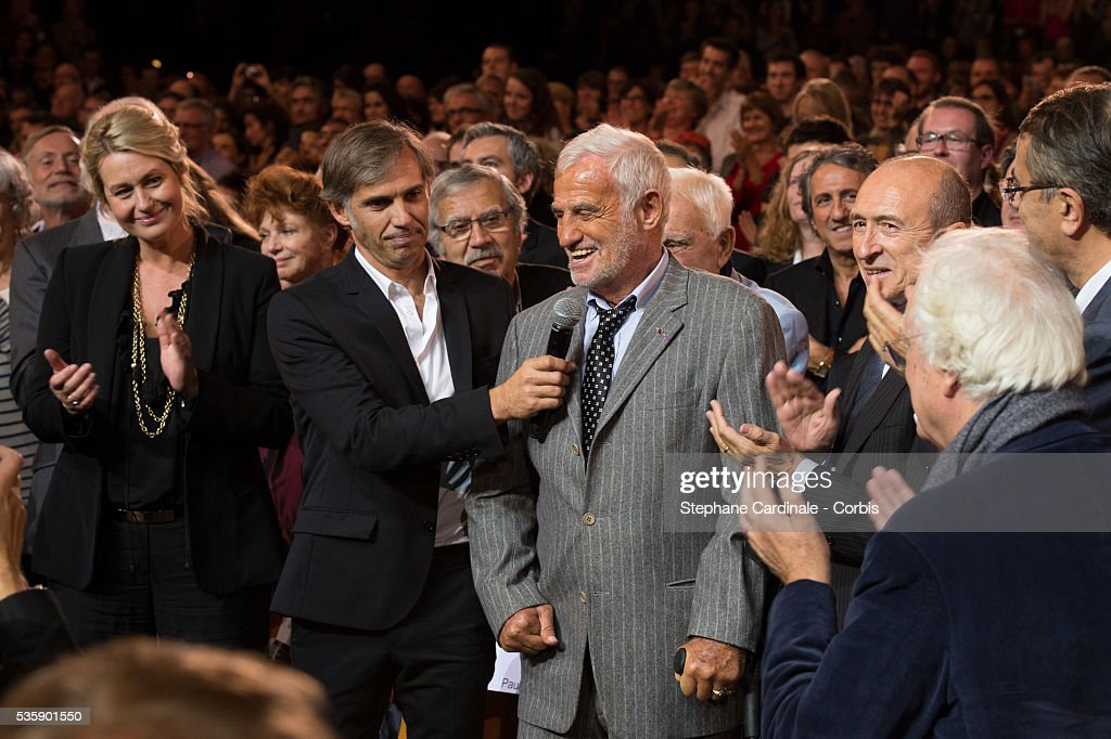 Luana Belmondo, Paul Belmondo, Jean Paul Belmondo and Gerard Collomb attend the Tribute to Jean Paul Belmondo and Opening Ceremony of the Fifth Lumiere Film Festival, in Lyon.