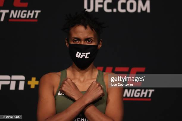 Luana 'Dread' Carolina poses on the scale during the UFC Fight Night: Reyes v Prochazka Weigh-in at UFC Apex on April 30 in Las Vegas, Nevada.